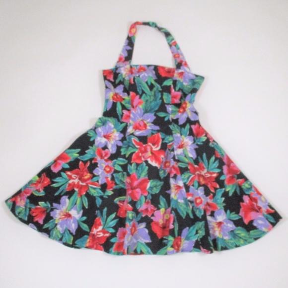 Vintage Dresses & Skirts - Vtg 80s 90s Halter Fit Flare Dress Floral Black
